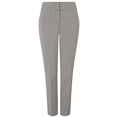 Erica Basketweave Trousers, Ivory/Grey - waist: high rise; secondary colour: white; predominant colour: ivory/cream; occasions: casual, creative work; length: ankle length; fibres: polyester/polyamide - mix; fit: slim leg; pattern type: fabric; pattern: patterned/print; texture group: woven light midweight; style: standard; pattern size: standard (bottom); season: s/s 2016