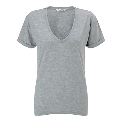 Longline V Neck T Shirt - neckline: low v-neck; pattern: plain; length: below the bottom; style: t-shirt; predominant colour: mid grey; occasions: casual; fibres: viscose/rayon - 100%; fit: body skimming; sleeve length: short sleeve; sleeve style: standard; pattern type: fabric; texture group: jersey - stretchy/drapey; season: s/s 2016; wardrobe: basic