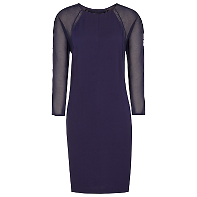 Dalston Sheer Sleeve Shift Dress, Indigo - style: shift; length: mid thigh; fit: tailored/fitted; pattern: plain; predominant colour: navy; occasions: evening, occasion; fibres: viscose/rayon - 100%; neckline: crew; sleeve length: 3/4 length; sleeve style: standard; texture group: crepes; pattern type: fabric; shoulder detail: sheer at shoulder; season: s/s 2016; wardrobe: event