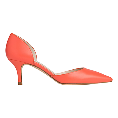 Florine Two Part Court Shoes - predominant colour: coral; occasions: evening, occasion; material: leather; heel height: mid; heel: stiletto; toe: pointed toe; style: courts; finish: plain; pattern: plain; season: s/s 2016; wardrobe: event