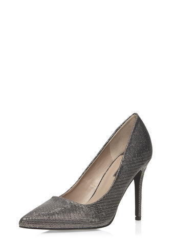 Womens Dorothy Perkins Wide Fit Pewter 'wiggle' Court Shoes, Grey - occasions: evening, occasion; material: faux leather; heel: stiletto; toe: pointed toe; style: courts; finish: metallic; pattern: plain; heel height: very high; predominant colour: pewter; season: s/s 2016; wardrobe: event