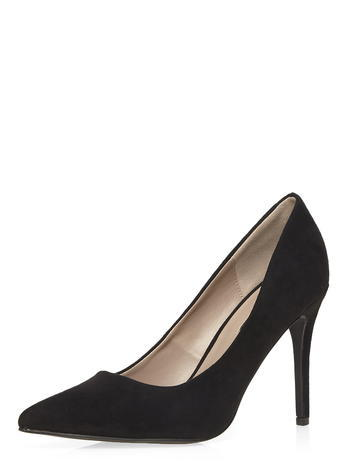 Womens Dorothy Perkins Wide Fit Black 'wiggle' Wide Fit Court Shoes, Black - predominant colour: black; occasions: evening, work, occasion; material: suede; heel: stiletto; toe: pointed toe; style: courts; finish: plain; pattern: plain; heel height: very high; season: s/s 2016; wardrobe: highlight