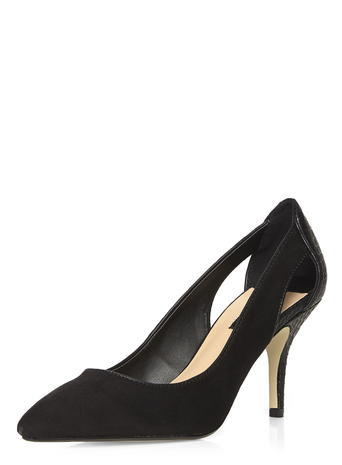 Womens Dorothy Perkins Black 'dally' Cut Out Court Shoes, Black - predominant colour: black; occasions: evening, occasion, creative work; material: suede; heel height: high; heel: stiletto; toe: pointed toe; style: courts; finish: plain; pattern: plain; season: s/s 2016; wardrobe: investment