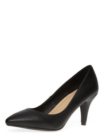 Womens Dorothy Perkins Black Mid Pointed Court Shoes, Black - predominant colour: black; occasions: work, creative work; material: faux leather; heel height: high; heel: stiletto; toe: pointed toe; style: courts; finish: plain; pattern: plain; season: s/s 2016; wardrobe: investment