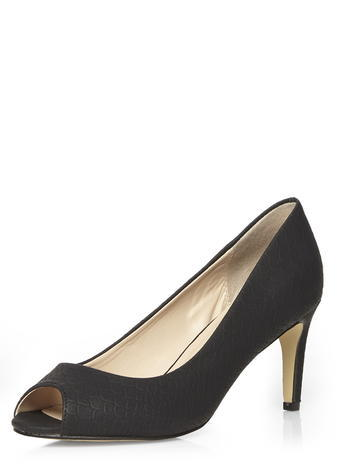 Womens Dorothy Perkins Black Peep Toe Court Shoes, Black - predominant colour: black; occasions: evening, work, occasion; material: fabric; heel height: high; heel: stiletto; toe: open toe/peeptoe; style: courts; finish: plain; pattern: plain; season: s/s 2016