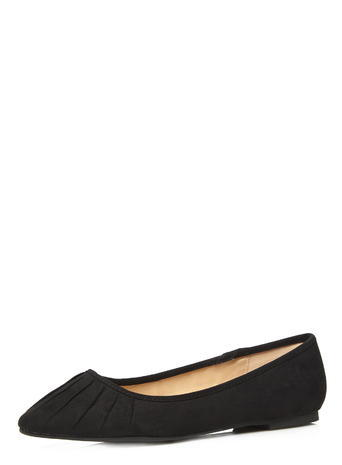 Womens Evans Black Suedette Ruched Toe Pumps, Black - predominant colour: black; occasions: casual, creative work; material: fabric; heel height: flat; toe: round toe; style: ballerinas / pumps; finish: plain; pattern: plain; season: s/s 2016; wardrobe: basic