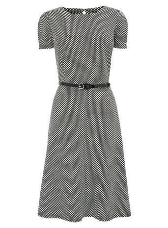 Black/White Textured Fit & Flare Dress, Black/White - length: below the knee; waist detail: belted waist/tie at waist/drawstring; secondary colour: white; predominant colour: black; occasions: evening; fit: fitted at waist & bust; style: fit & flare; fibres: polyester/polyamide - stretch; neckline: crew; sleeve length: short sleeve; sleeve style: standard; pattern type: fabric; pattern: patterned/print; texture group: jersey - stretchy/drapey; multicoloured: multicoloured; season: s/s 2016; wardrobe: event