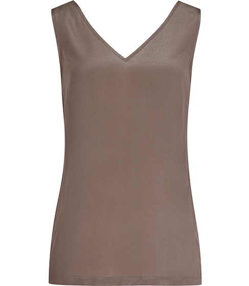 Mikaela Silk Front Tank Top - neckline: low v-neck; pattern: plain; sleeve style: sleeveless; predominant colour: taupe; occasions: work; length: standard; style: top; fibres: silk - 100%; fit: body skimming; sleeve length: sleeveless; texture group: silky - light; pattern type: fabric; season: s/s 2016; wardrobe: basic