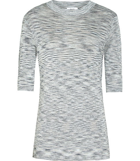 Saskia Short Sleeved Knitted Top - pattern: plain; predominant colour: light grey; occasions: casual; length: standard; style: top; fibres: viscose/rayon - 100%; fit: tight; neckline: crew; sleeve length: half sleeve; sleeve style: standard; texture group: jersey - clingy; pattern type: fabric; season: s/s 2016; wardrobe: basic
