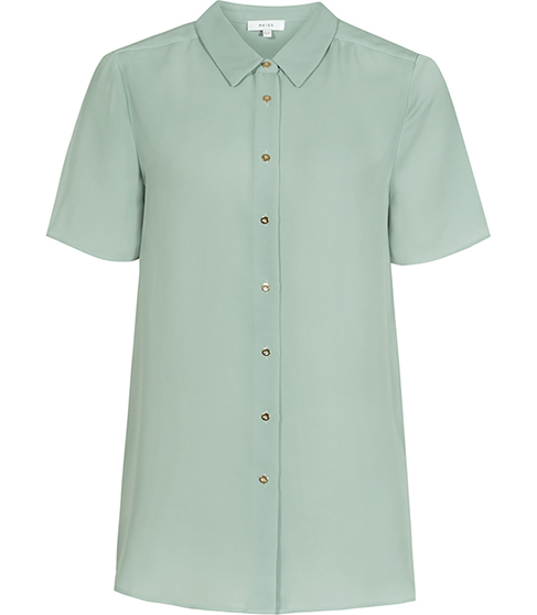 Cassidy Semi Sheer Shirt - neckline: shirt collar/peter pan/zip with opening; pattern: plain; style: shirt; predominant colour: pistachio; occasions: casual; length: standard; fibres: polyester/polyamide - 100%; fit: body skimming; sleeve length: short sleeve; sleeve style: standard; texture group: cotton feel fabrics; pattern type: fabric; season: s/s 2016; wardrobe: highlight