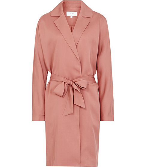 Manhattan Fluid Trench Coat - pattern: plain; style: trench coat; collar: standard lapel/rever collar; length: mid thigh; predominant colour: pink; occasions: work; fit: tailored/fitted; fibres: polyester/polyamide - 100%; waist detail: belted waist/tie at waist/drawstring; sleeve length: long sleeve; sleeve style: standard; collar break: medium; pattern type: fabric; texture group: other - light to midweight; season: s/s 2016; wardrobe: highlight