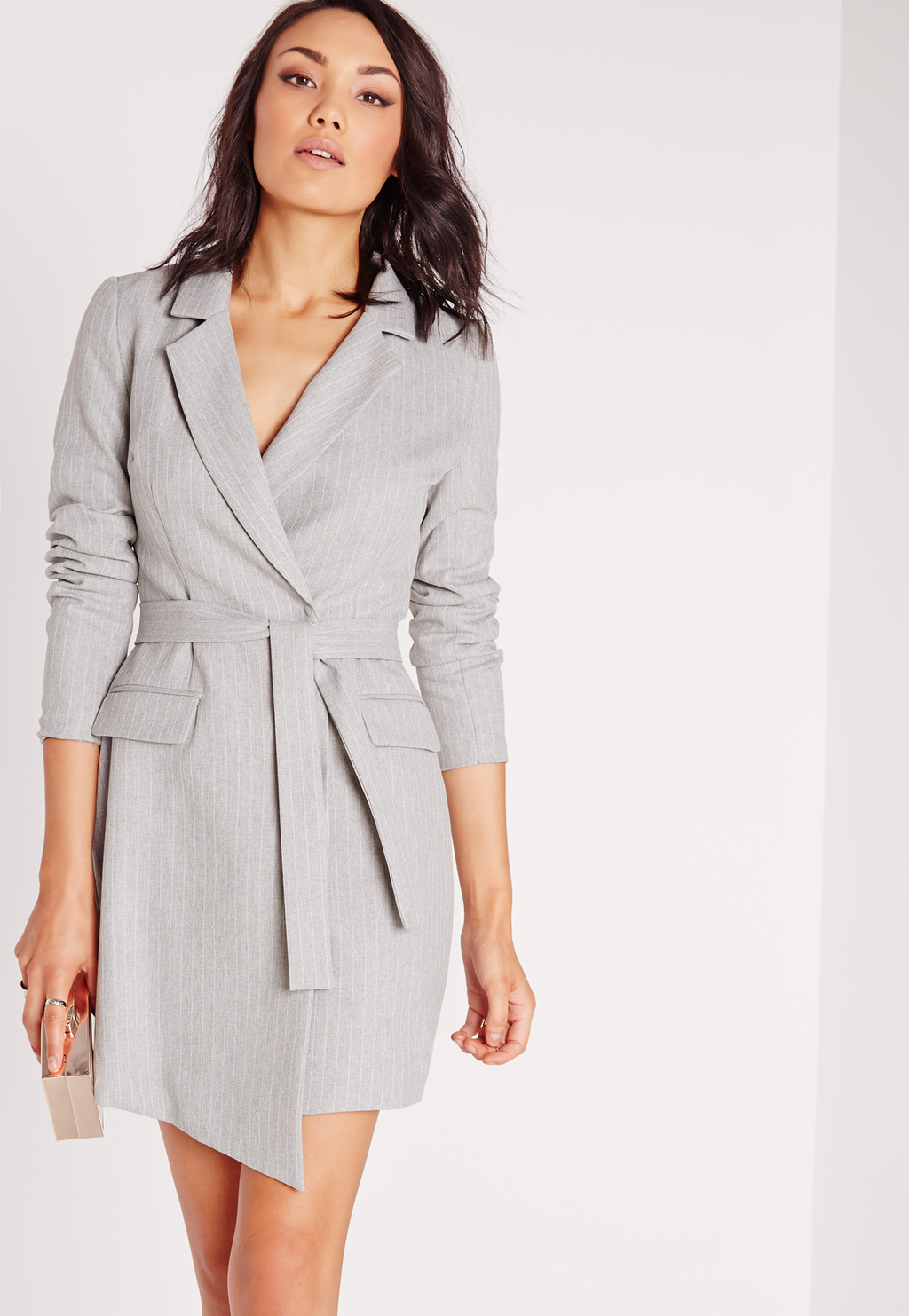 Pinstripe Wrap Blazer Dress Grey, Grey - style: faux wrap/wrap; length: mid thigh; neckline: v-neck; pattern: plain; predominant colour: light grey; occasions: evening; fit: body skimming; fibres: polyester/polyamide - 100%; sleeve length: long sleeve; sleeve style: standard; pattern type: fabric; texture group: other - light to midweight; season: s/s 2016; wardrobe: event