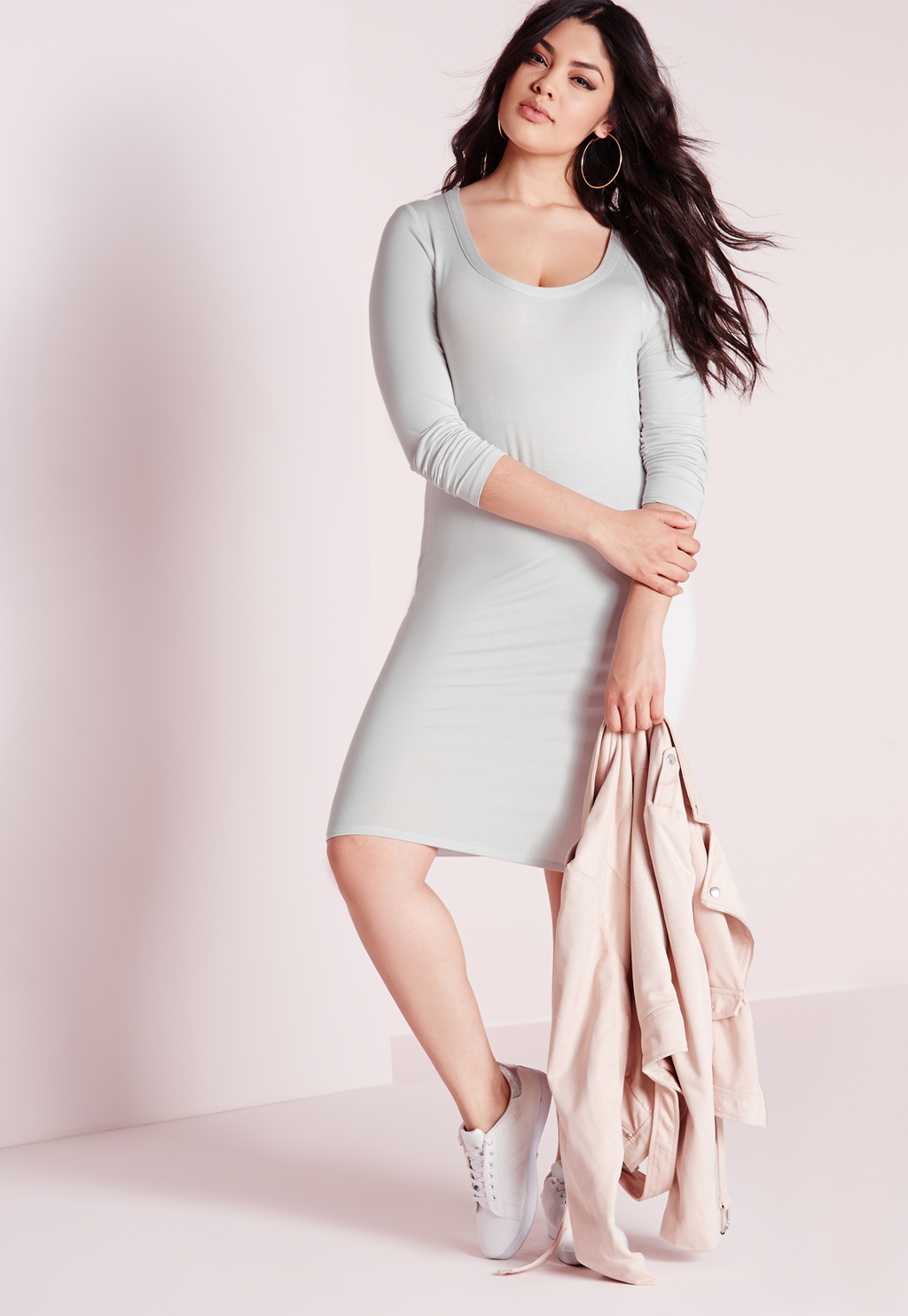 Plus Size Midi Long Sleeve Dress Ice Grey, Grey - pattern: plain; style: bodycon; hip detail: draws attention to hips; predominant colour: light grey; occasions: casual; length: on the knee; fit: body skimming; neckline: scoop; fibres: polyester/polyamide - stretch; sleeve length: 3/4 length; sleeve style: standard; texture group: jersey - clingy; pattern type: fabric; season: s/s 2016; wardrobe: basic