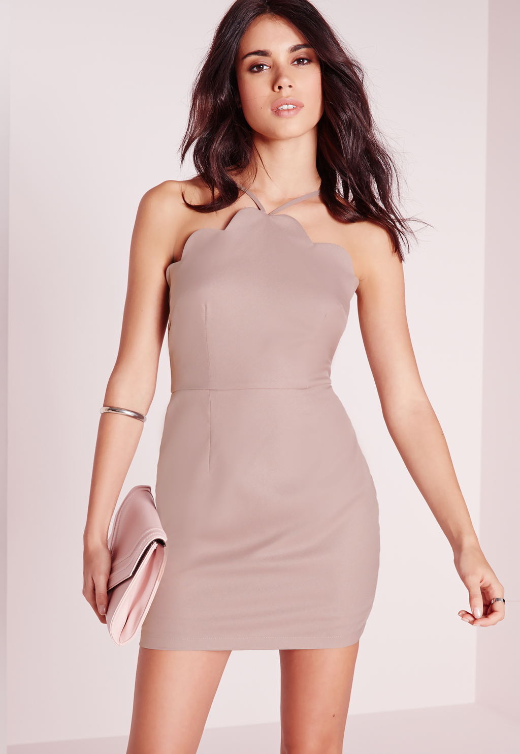 Petite Exclusive Scallop Bodycon Dress Mauve, Mauve - style: shift; length: mini; fit: tailored/fitted; pattern: plain; sleeve style: sleeveless; predominant colour: lilac; occasions: evening; fibres: polyester/polyamide - 100%; sleeve length: sleeveless; pattern type: fabric; texture group: other - light to midweight; season: s/s 2016; neckline: high halter neck