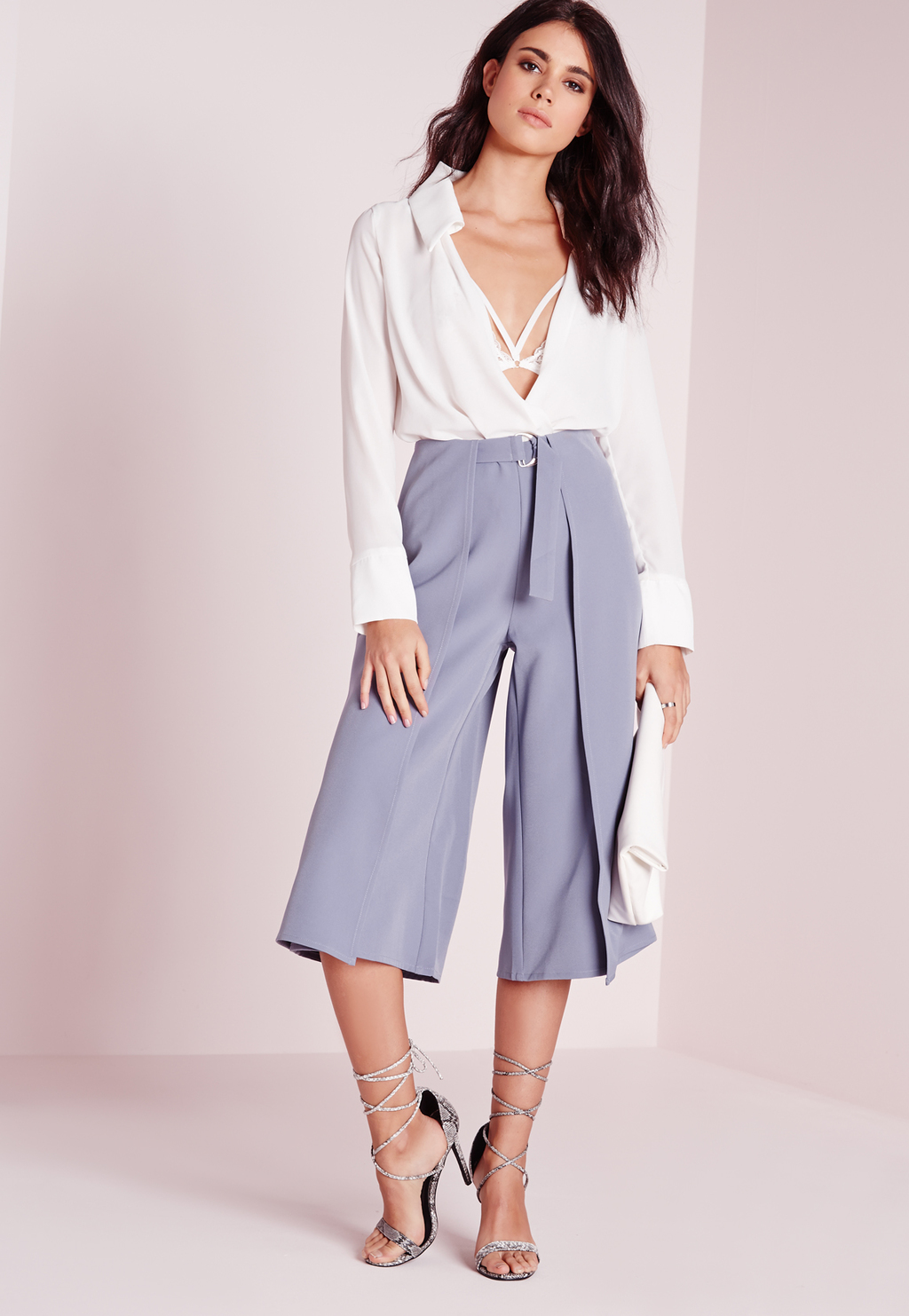 D Ring Detail Culottes Grey, Grey - pattern: plain; waist detail: belted waist/tie at waist/drawstring; waist: mid/regular rise; predominant colour: pale blue; fibres: polyester/polyamide - 100%; pattern type: fabric; texture group: other - light to midweight; occasions: creative work; season: s/s 2016; style: culotte; length: below the knee; fit: a-line; wardrobe: highlight