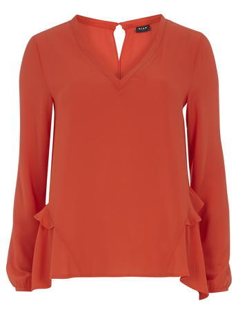 Womens **Vila Orange V Neck Blouse Orange - neckline: v-neck; pattern: plain; sleeve style: balloon; style: blouse; predominant colour: bright orange; occasions: casual, creative work; length: standard; fibres: polyester/polyamide - 100%; fit: straight cut; hip detail: ruching/gathering at hip; sleeve length: long sleeve; texture group: sheer fabrics/chiffon/organza etc.; pattern type: fabric; season: s/s 2016; wardrobe: highlight