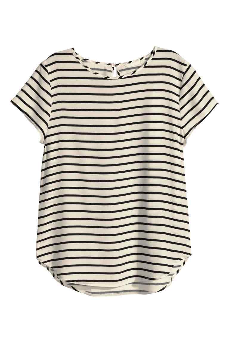 Short Sleeved Blouse - pattern: horizontal stripes; secondary colour: ivory/cream; predominant colour: black; occasions: casual; length: standard; style: top; fibres: cotton - 100%; fit: body skimming; neckline: crew; sleeve length: short sleeve; sleeve style: standard; pattern type: fabric; pattern size: standard; texture group: jersey - stretchy/drapey; season: s/s 2016; wardrobe: basic