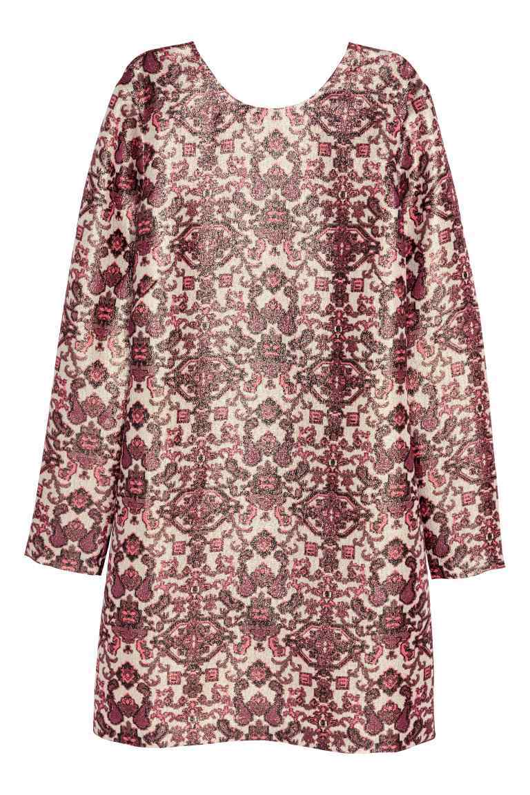 Patterned Silk Blend Dress - style: shift; length: mid thigh; predominant colour: burgundy; secondary colour: stone; occasions: casual; fit: straight cut; fibres: silk - mix; neckline: crew; sleeve length: long sleeve; sleeve style: standard; pattern type: fabric; pattern size: big & busy; pattern: patterned/print; texture group: woven light midweight; multicoloured: multicoloured; season: s/s 2016; wardrobe: highlight
