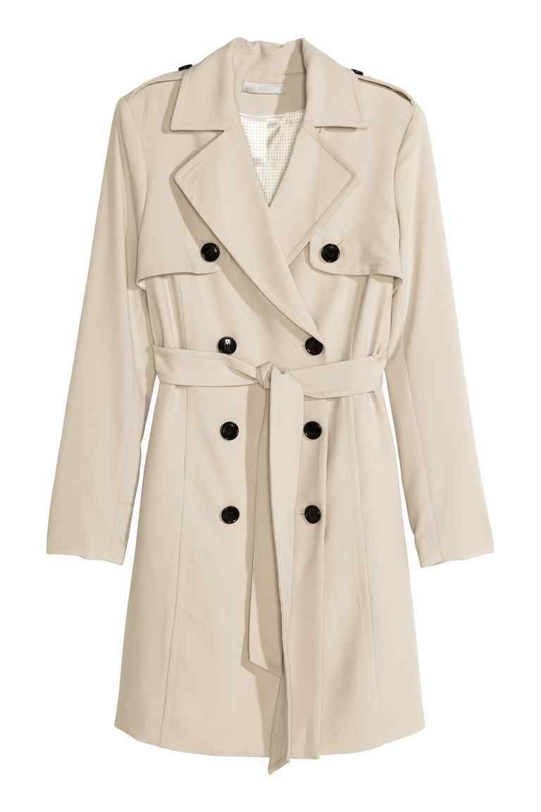Trenchcoat - pattern: plain; style: trench coat; collar: standard lapel/rever collar; length: mid thigh; predominant colour: stone; occasions: casual, creative work; fit: tailored/fitted; fibres: polyester/polyamide - stretch; waist detail: belted waist/tie at waist/drawstring; sleeve length: short sleeve; sleeve style: standard; collar break: medium; pattern type: fabric; texture group: woven light midweight; season: s/s 2016; wardrobe: highlight