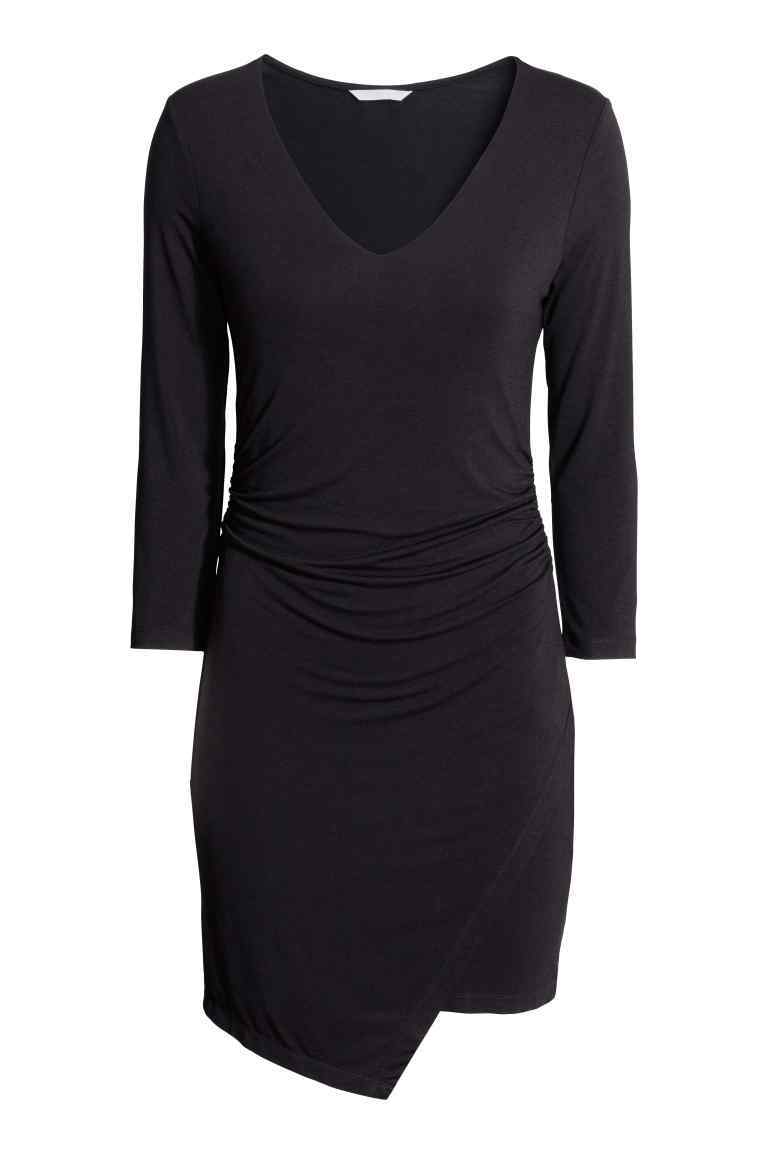 V Neck Jersey Dress - neckline: low v-neck; pattern: plain; predominant colour: navy; occasions: casual, creative work; length: just above the knee; fit: body skimming; style: asymmetric (hem); fibres: viscose/rayon - stretch; sleeve length: long sleeve; sleeve style: standard; pattern type: fabric; texture group: jersey - stretchy/drapey; season: s/s 2016; wardrobe: basic