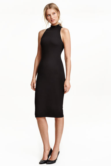 Turtleneck Dress - style: shift; length: below the knee; pattern: plain; sleeve style: sleeveless; predominant colour: black; occasions: evening, occasion; fit: body skimming; fibres: cotton - stretch; sleeve length: sleeveless; pattern type: fabric; texture group: jersey - stretchy/drapey; season: s/s 2016; neckline: high halter neck; wardrobe: event