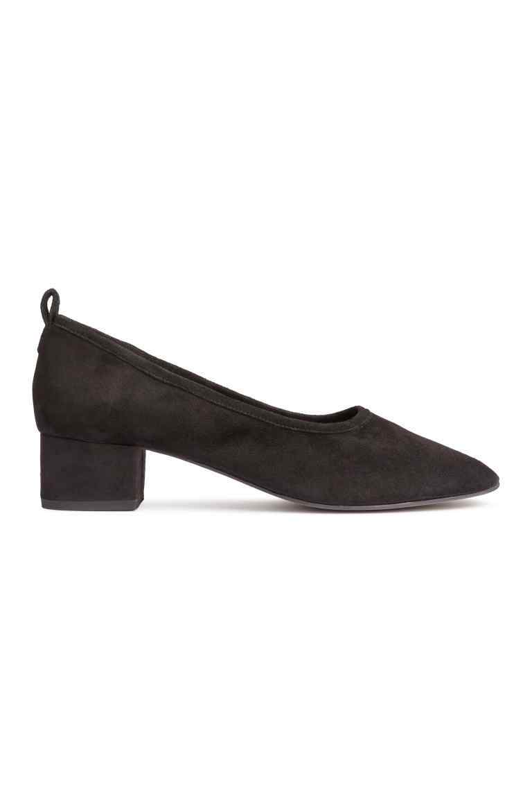 Suede Court Shoes - predominant colour: black; occasions: work; material: suede; heel height: mid; heel: block; toe: round toe; style: courts; finish: plain; pattern: plain; season: s/s 2016; wardrobe: investment
