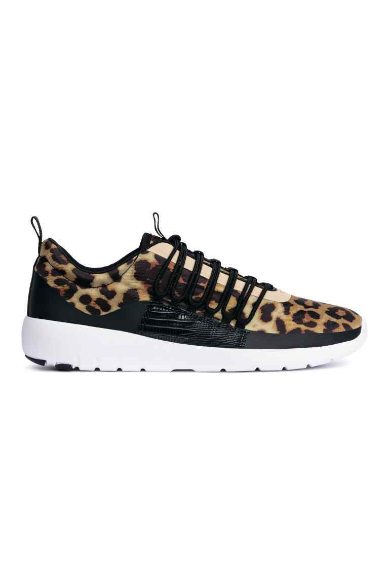 Trainers - secondary colour: tan; predominant colour: black; occasions: casual; material: fabric; heel height: flat; toe: round toe; style: trainers; finish: plain; pattern: animal print; shoe detail: tread; season: s/s 2016; wardrobe: highlight