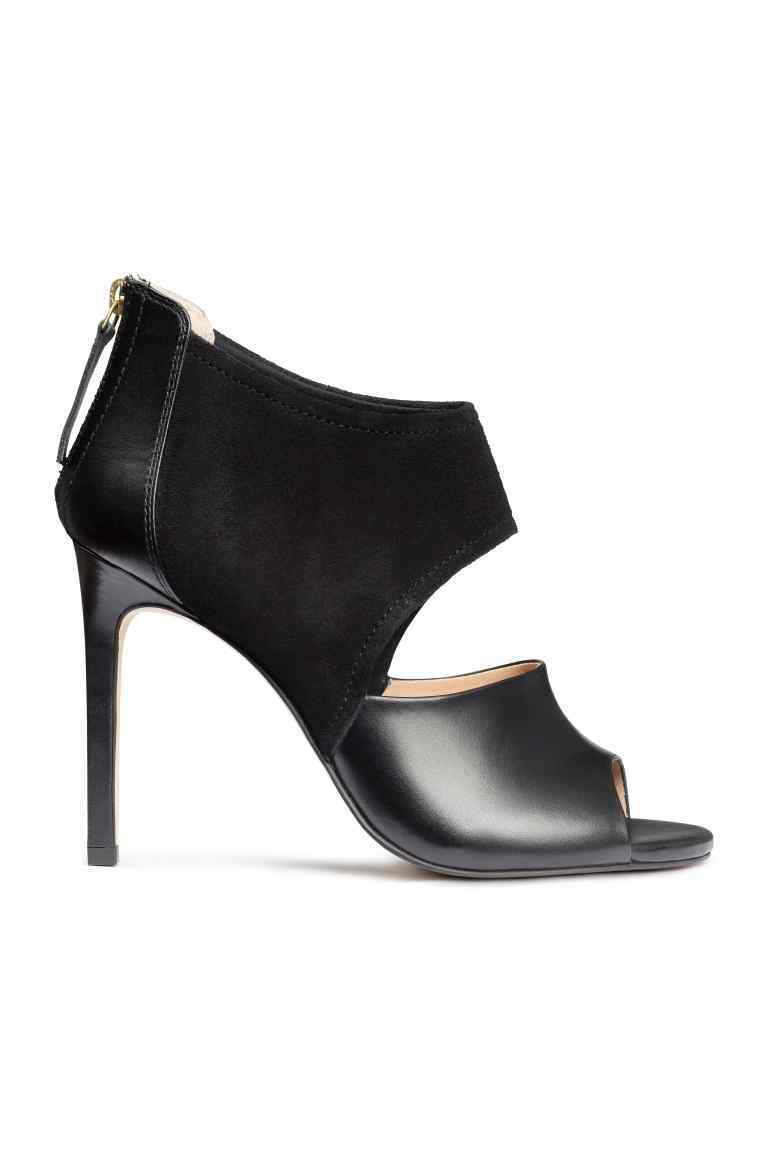 Leather Sandals - predominant colour: black; occasions: evening, occasion; material: leather; heel height: high; embellishment: zips; heel: stiletto; toe: open toe/peeptoe; style: standard; finish: plain; pattern: plain; season: s/s 2016; wardrobe: event