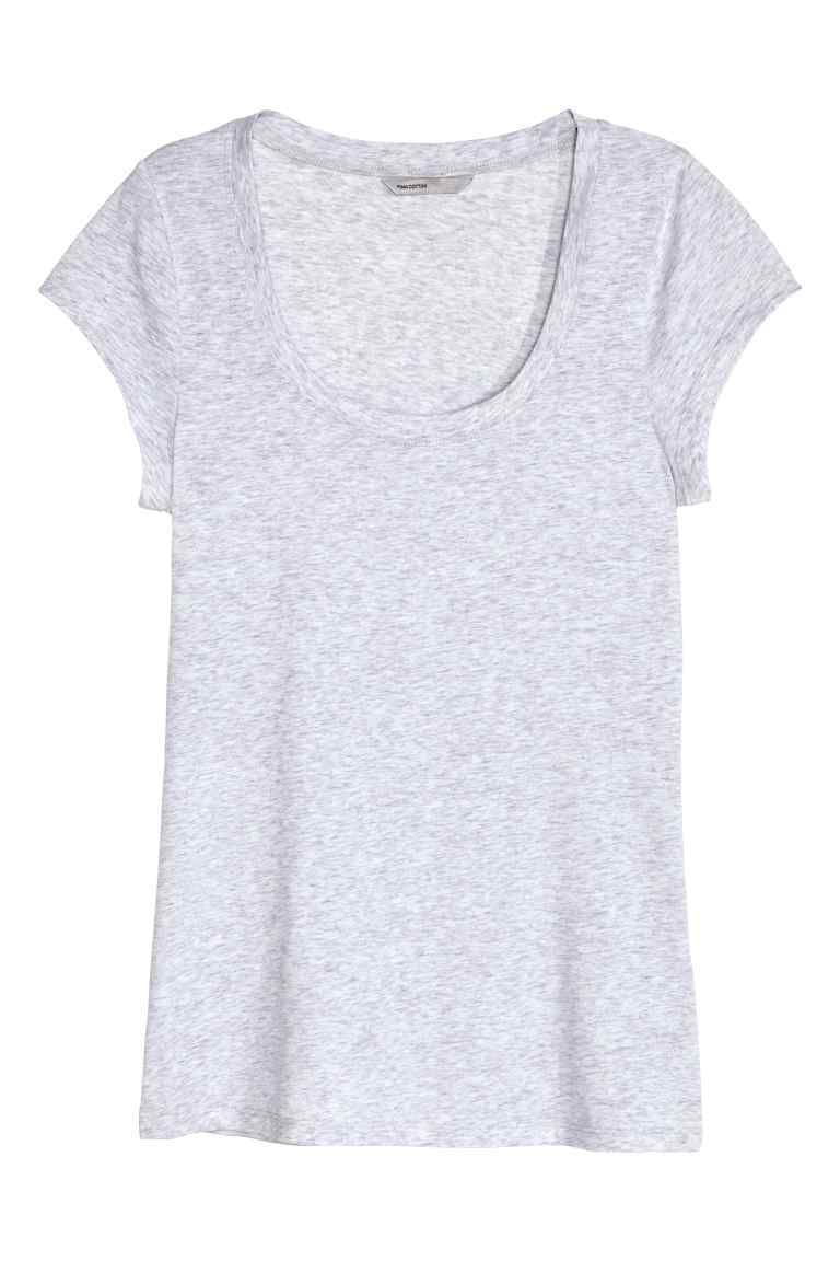 Top In Pima Cotton - sleeve style: capped; pattern: plain; style: t-shirt; predominant colour: light grey; occasions: casual; length: standard; neckline: scoop; fibres: cotton - 100%; fit: body skimming; sleeve length: short sleeve; pattern type: fabric; texture group: jersey - stretchy/drapey; season: s/s 2016; wardrobe: basic