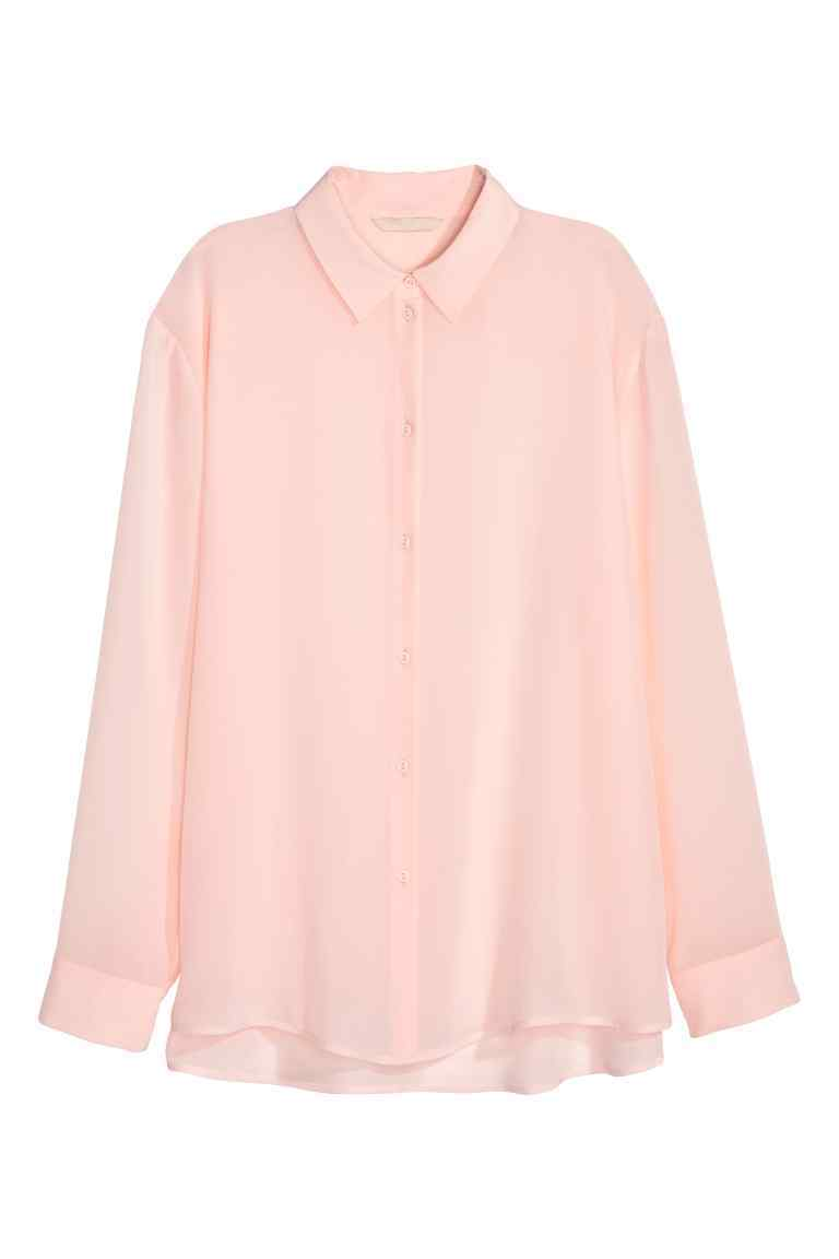 Silk Shirt - neckline: shirt collar/peter pan/zip with opening; pattern: plain; style: shirt; predominant colour: blush; occasions: casual, creative work; length: standard; fibres: silk - 100%; fit: loose; sleeve length: long sleeve; sleeve style: standard; texture group: silky - light; pattern type: fabric; season: s/s 2016; wardrobe: basic
