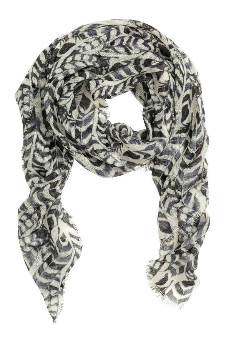 Patterned Wool Scarf - predominant colour: black; occasions: casual, creative work; type of pattern: large; style: regular; size: standard; material: fabric; pattern: patterned/print; season: s/s 2016; wardrobe: highlight