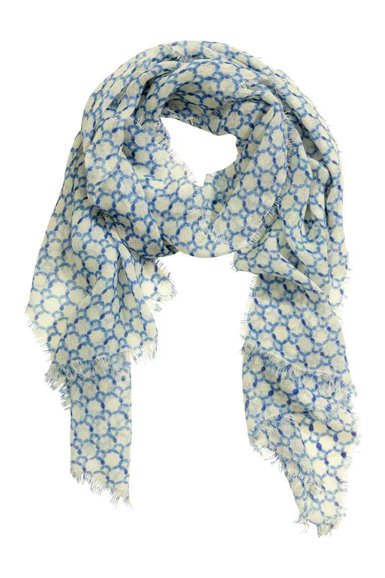 Patterned Wool Scarf - predominant colour: pale blue; occasions: casual, creative work; type of pattern: large; style: regular; size: standard; material: fabric; pattern: patterned/print; season: s/s 2016; wardrobe: highlight