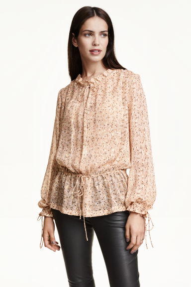 Glittery Silk Blouse - sleeve style: balloon; style: blouse; waist detail: belted waist/tie at waist/drawstring; predominant colour: nude; secondary colour: gold; occasions: evening, creative work; length: standard; neckline: collarstand; fibres: silk - 100%; fit: loose; sleeve length: long sleeve; pattern type: fabric; pattern size: light/subtle; pattern: florals; texture group: woven light midweight; season: s/s 2016; wardrobe: highlight
