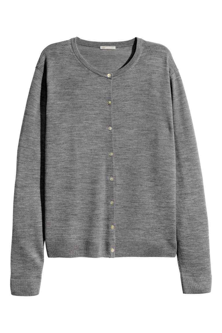 Merino Wool Cardigan - neckline: round neck; pattern: plain; predominant colour: mid grey; occasions: casual, work, creative work; length: standard; style: standard; fibres: wool - 100%; fit: loose; sleeve length: long sleeve; sleeve style: standard; texture group: knits/crochet; pattern type: knitted - fine stitch; season: s/s 2016; wardrobe: basic