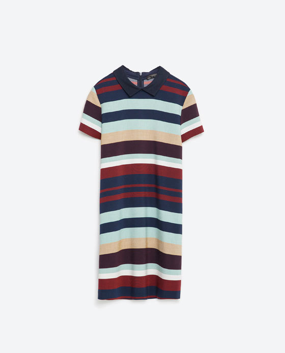 Striped Dress - style: shift; length: mini; pattern: horizontal stripes; secondary colour: burgundy; predominant colour: navy; occasions: casual, creative work; fit: body skimming; fibres: polyester/polyamide - stretch; neckline: no opening/shirt collar/peter pan; sleeve length: short sleeve; sleeve style: standard; pattern type: fabric; pattern size: standard; texture group: jersey - stretchy/drapey; multicoloured: multicoloured; season: s/s 2016; wardrobe: highlight