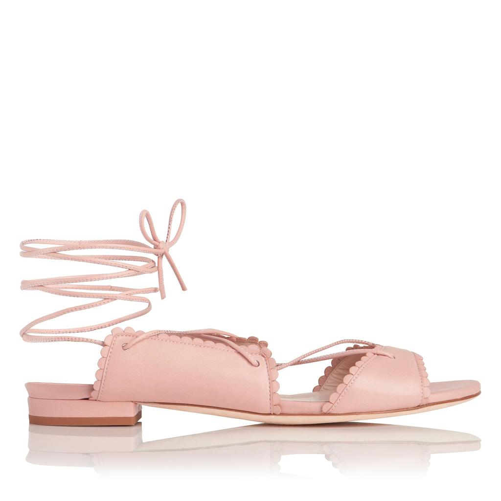 Jackie Pink Flat Sandals Pink Pastel Pink - predominant colour: blush; occasions: casual, creative work; material: leather; heel height: flat; ankle detail: ankle tie; toe: open toe/peeptoe; style: ballerinas / pumps; finish: plain; pattern: plain; season: s/s 2016; wardrobe: highlight