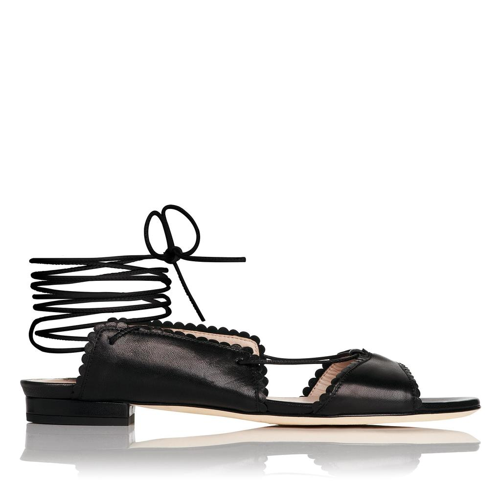 Jackie Black Flat Sandals - predominant colour: black; occasions: casual, creative work; material: leather; heel height: flat; ankle detail: ankle tie; toe: open toe/peeptoe; style: ballerinas / pumps; finish: plain; pattern: plain; season: s/s 2016; wardrobe: highlight