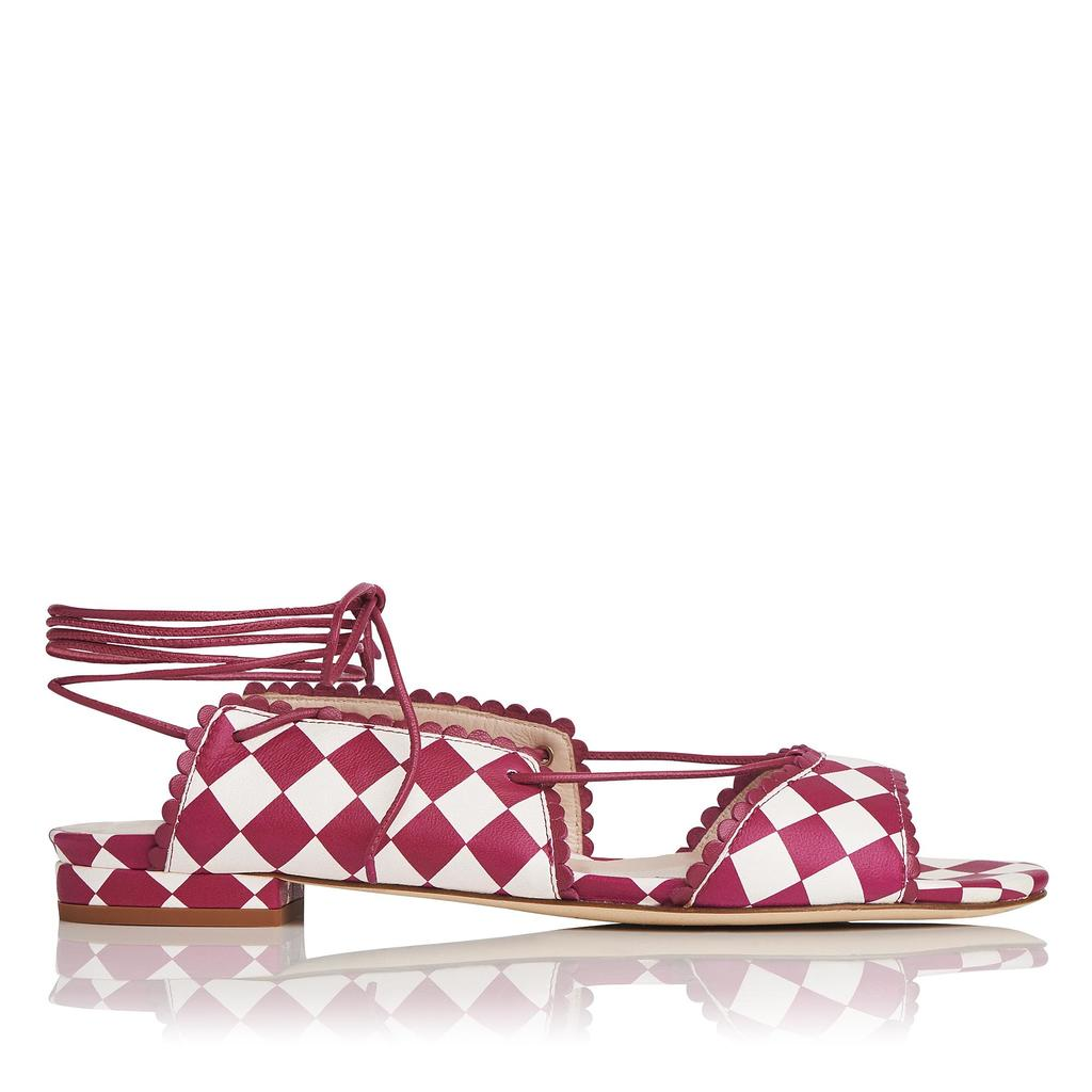 Jackie Printed Flat Sandals Multi Raspberry - secondary colour: white; predominant colour: true red; occasions: casual, creative work; material: leather; heel height: flat; ankle detail: ankle tie; toe: open toe/peeptoe; style: ballerinas / pumps; finish: plain; pattern: checked/gingham; season: s/s 2016; wardrobe: highlight