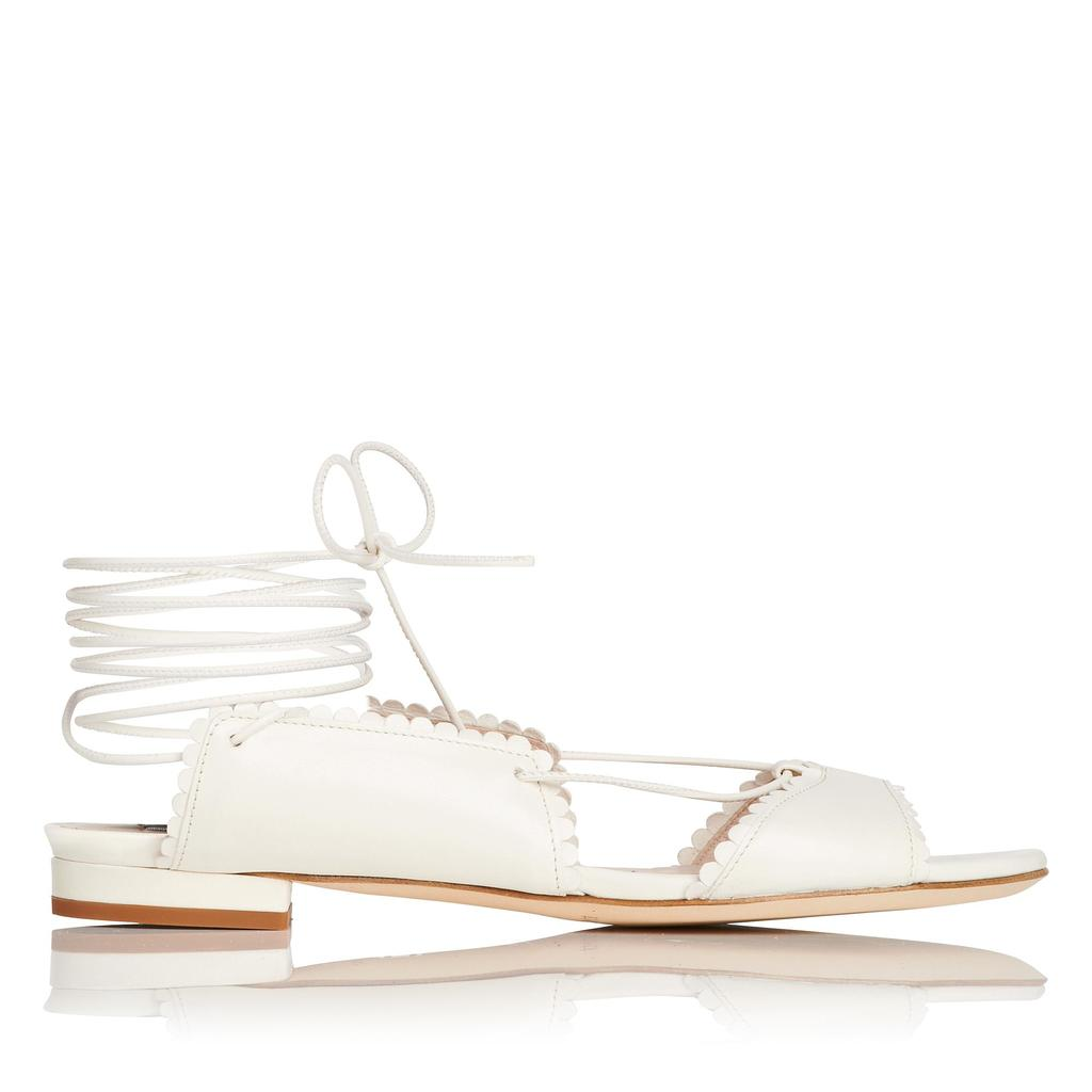 Jackie Cream Flat Sandals - predominant colour: white; occasions: casual, creative work; material: leather; heel height: flat; ankle detail: ankle tie; toe: open toe/peeptoe; style: ballerinas / pumps; finish: plain; pattern: plain; season: s/s 2016; wardrobe: highlight