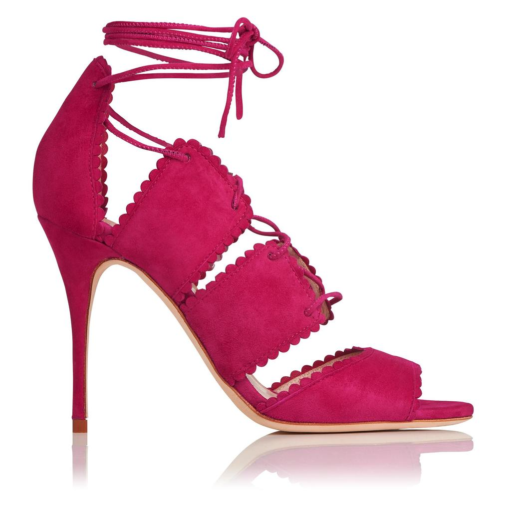 Jerry Pink Suede Sandals Pink Raspberry - predominant colour: hot pink; occasions: evening, occasion; material: suede; ankle detail: ankle tie; heel: stiletto; toe: open toe/peeptoe; style: strappy; finish: plain; pattern: plain; heel height: very high; season: s/s 2016; wardrobe: event