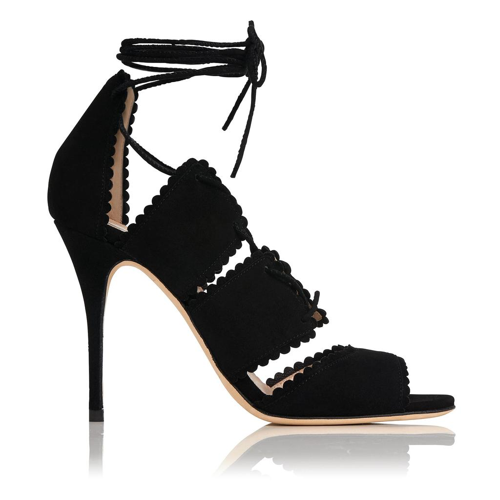 Jerry Black Leather Sandals Black - predominant colour: black; occasions: evening, occasion; material: suede; ankle detail: ankle strap; heel: stiletto; toe: open toe/peeptoe; style: strappy; finish: plain; pattern: plain; heel height: very high; season: s/s 2016; wardrobe: event