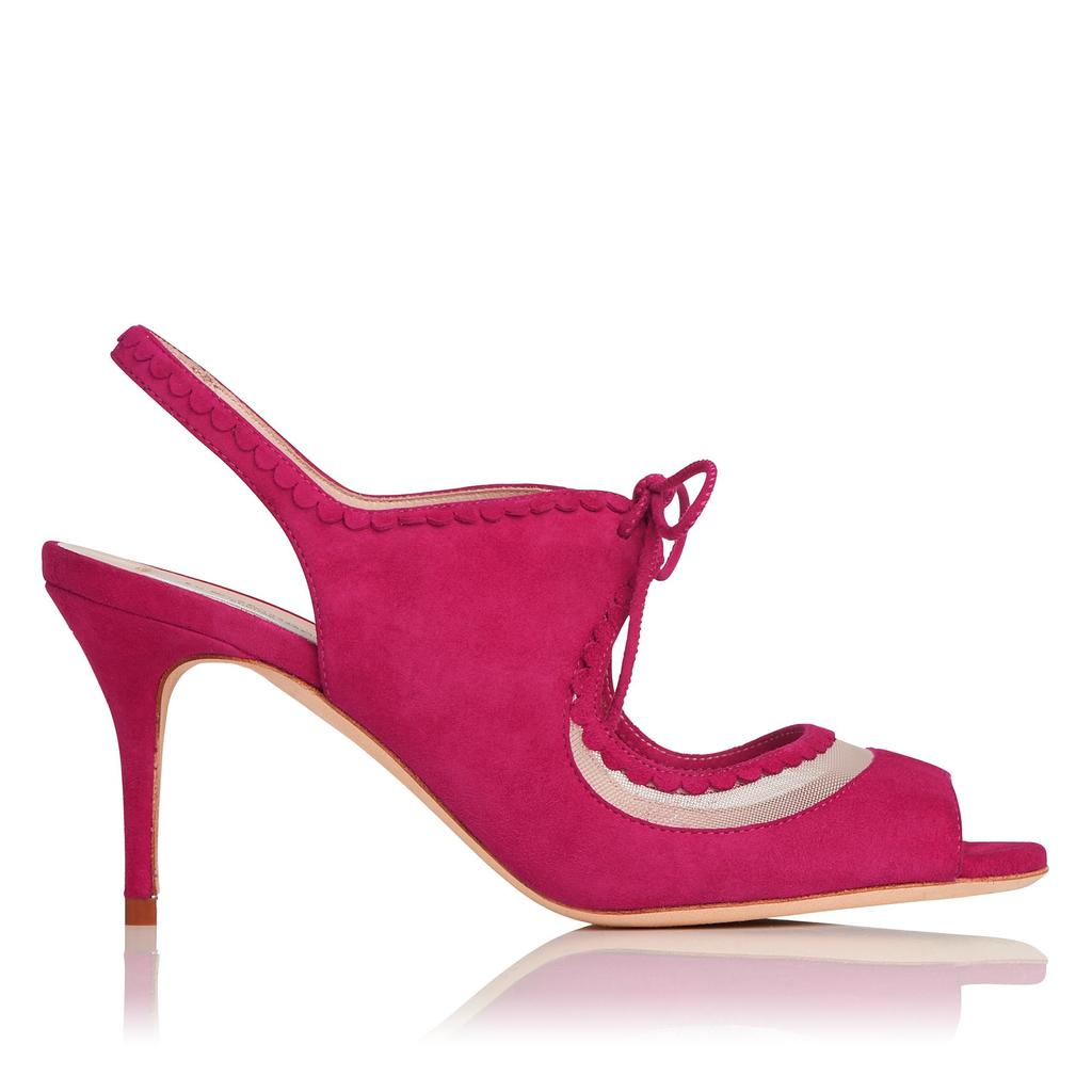 Lois Pink Leather Sandals - predominant colour: hot pink; occasions: evening, occasion; material: suede; heel height: high; heel: stiletto; toe: open toe/peeptoe; style: strappy; finish: plain; pattern: plain; season: s/s 2016; wardrobe: event