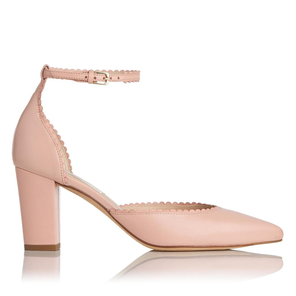 Alexa Pink Leather Courts Pink Pastel Pink - predominant colour: blush; occasions: evening, occasion; material: leather; heel height: high; ankle detail: ankle strap; heel: block; toe: pointed toe; style: courts; finish: plain; pattern: plain; season: s/s 2016; wardrobe: event