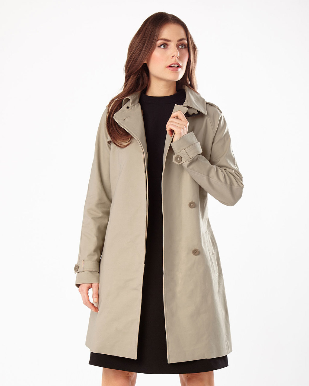 Dulce Trench Coat - pattern: plain; style: trench coat; length: mid thigh; predominant colour: stone; occasions: work; fit: tailored/fitted; fibres: cotton - mix; collar: shirt collar/peter pan/zip with opening; sleeve length: long sleeve; sleeve style: standard; texture group: technical outdoor fabrics; collar break: high; pattern type: fabric; season: s/s 2016; wardrobe: highlight