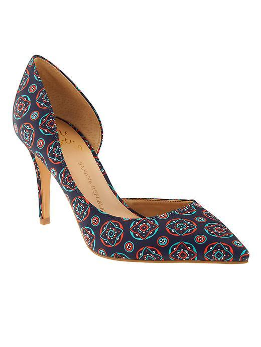 Andilla D'orsay Pump Blue Multi - secondary colour: burgundy; predominant colour: royal blue; occasions: evening, occasion; material: fabric; heel height: high; heel: stiletto; toe: pointed toe; style: courts; finish: plain; pattern: patterned/print; multicoloured: multicoloured; season: s/s 2016