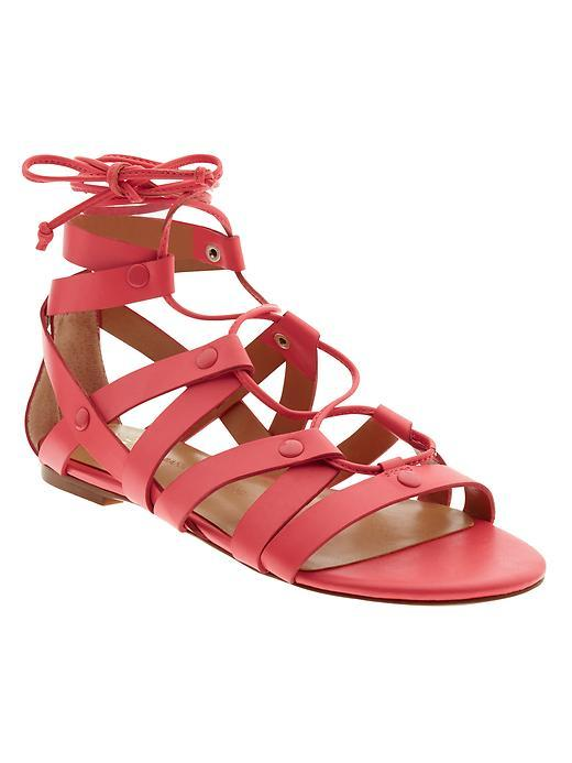 Telly Lace Up Sandal Fire Coral - predominant colour: coral; occasions: casual, holiday; material: leather; heel height: flat; ankle detail: ankle tie; heel: block; toe: open toe/peeptoe; style: gladiators; finish: plain; pattern: plain; season: s/s 2016; wardrobe: highlight