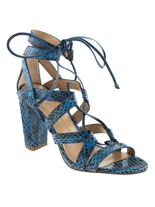 Eryn Heeled Sandal Blue - predominant colour: diva blue; secondary colour: black; occasions: evening, occasion, creative work; material: leather; heel height: high; ankle detail: ankle tie; heel: block; toe: open toe/peeptoe; style: strappy; finish: plain; pattern: animal print; season: s/s 2016; wardrobe: highlight