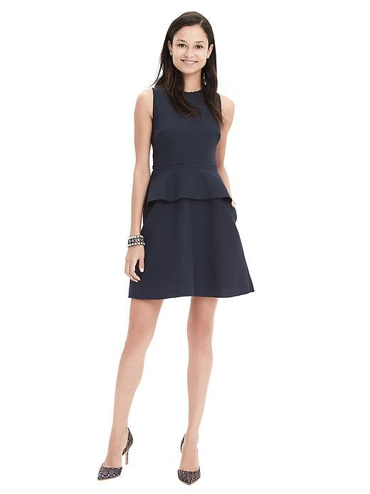 Cotton/Linen Peplum Dress Preppy Navy - length: mid thigh; pattern: plain; sleeve style: sleeveless; predominant colour: navy; occasions: evening, creative work; fit: fitted at waist & bust; style: fit & flare; fibres: cotton - 100%; neckline: crew; hip detail: adds bulk at the hips; sleeve length: sleeveless; texture group: cotton feel fabrics; pattern type: fabric; season: s/s 2016; wardrobe: highlight