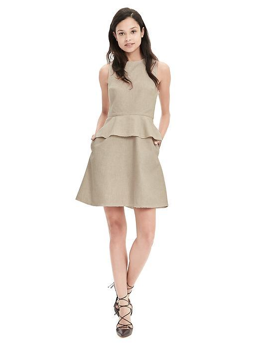 Cotton/Linen Peplum Dress Natural - length: mid thigh; pattern: plain; sleeve style: sleeveless; waist detail: peplum waist detail; predominant colour: stone; occasions: casual, creative work; fit: fitted at waist & bust; style: fit & flare; fibres: cotton - mix; neckline: crew; hip detail: subtle/flattering hip detail; sleeve length: sleeveless; texture group: cotton feel fabrics; pattern type: fabric; season: s/s 2016; wardrobe: basic