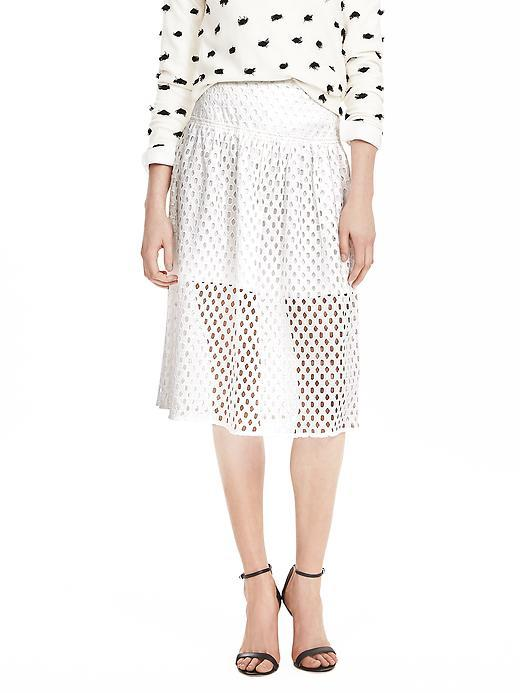 White Geo Lace Skirt White - style: full/prom skirt; fit: loose/voluminous; waist: high rise; predominant colour: white; occasions: casual; length: on the knee; fibres: cotton - 100%; texture group: lace; pattern type: fabric; pattern: patterned/print; embellishment: lace; pattern size: standard (bottom); season: s/s 2016; wardrobe: highlight; embellishment location: all over